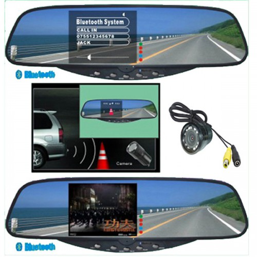 "3.5""TFT Bluetooth Handsfree Kits--Bluetooth Stereo Hands-Free Rearview Mirror"