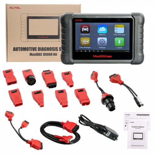 【Ship from US No Tax】Latest AUTEL MaxiDAS DS808 KIT Tablet Diagnostic Tool Full Set Support Injector & Key Coding Update Online