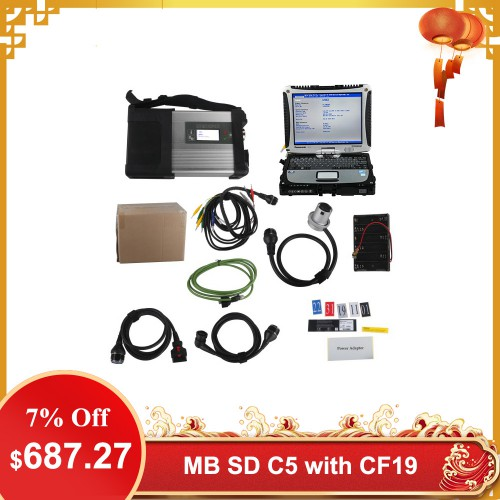V2019.12 MB SD C5 Connect Compact 5 Star Diagnosis with SSD Plus Panasonic CF19 I5 4GB Laptop Software Installed Ready to Use