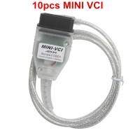 10pcs Cheap MINI VCI V13.00.022 Single Cable For Toyota Support Toyota TIS OEM Diagnostic Software
