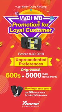 Xhorse VVDI MB Promotion $600 Exchange VVDI MB BGA Tool with 5000 Bonus Points Valid Till Sep 30th