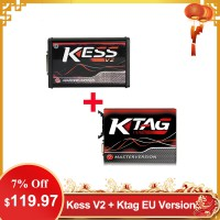 [UK Ship] Kess V2 V5.017 SW V2.47 Red PCB EU Online Version Plus Ktag 7.020 SW V2.25 Red PCB EURO Online Version Get Free V1.61 ECM TITANIUM