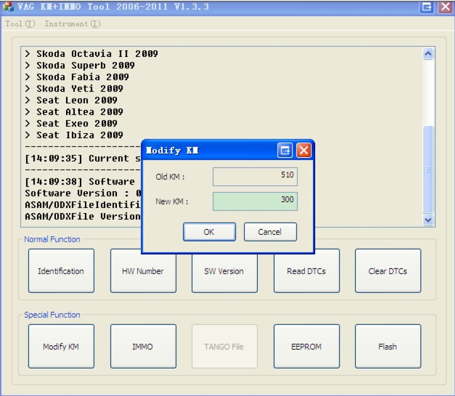 VAG KM+IMMO tool software display 5
