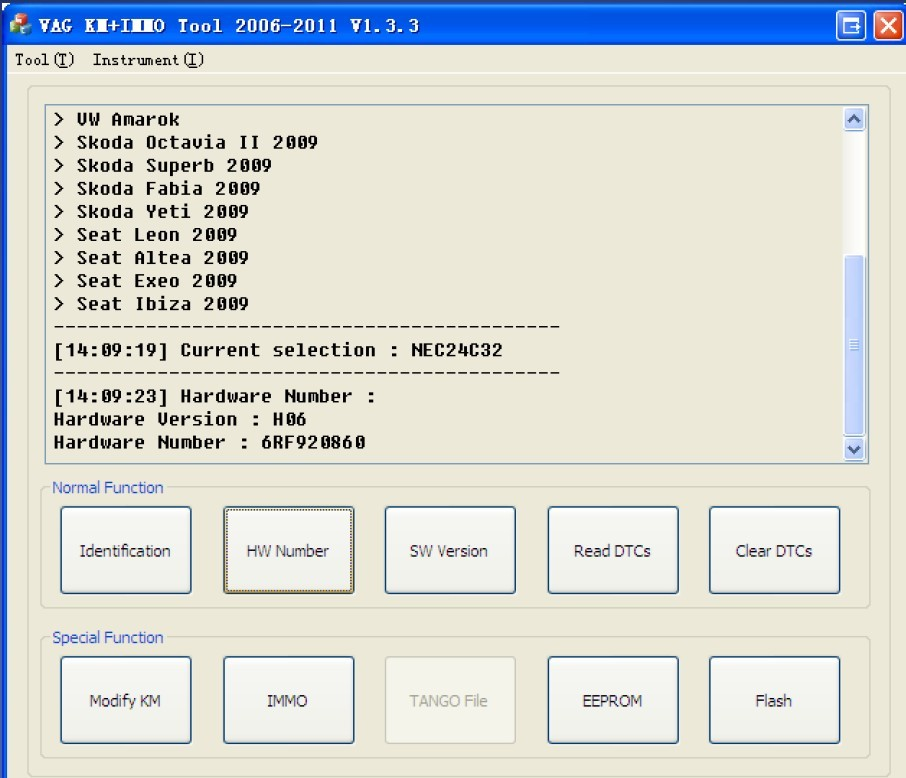 VAG KM+IMMO tool software display 3