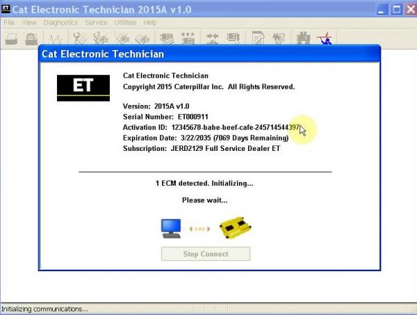 Real 2015A Caterpillar ET3 Adapter III Software Display 2