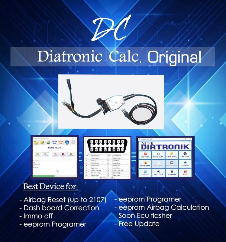Diatronik SRS+DASH+CALC+EPS OBD Tool with USB Dongle