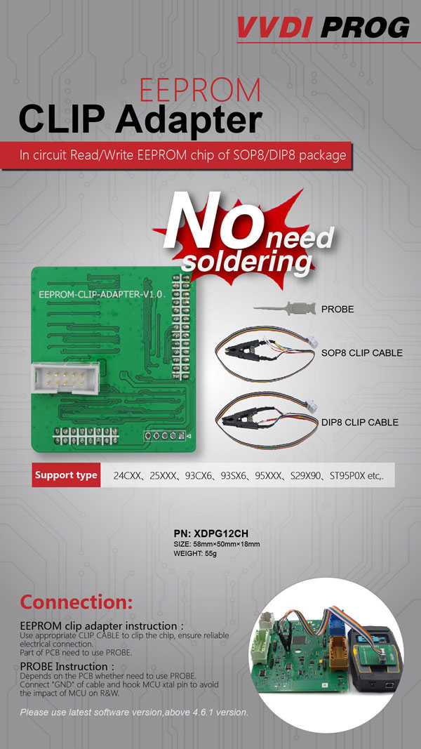 VVDI PROG Programmer EEPROM Clip Adapter 2