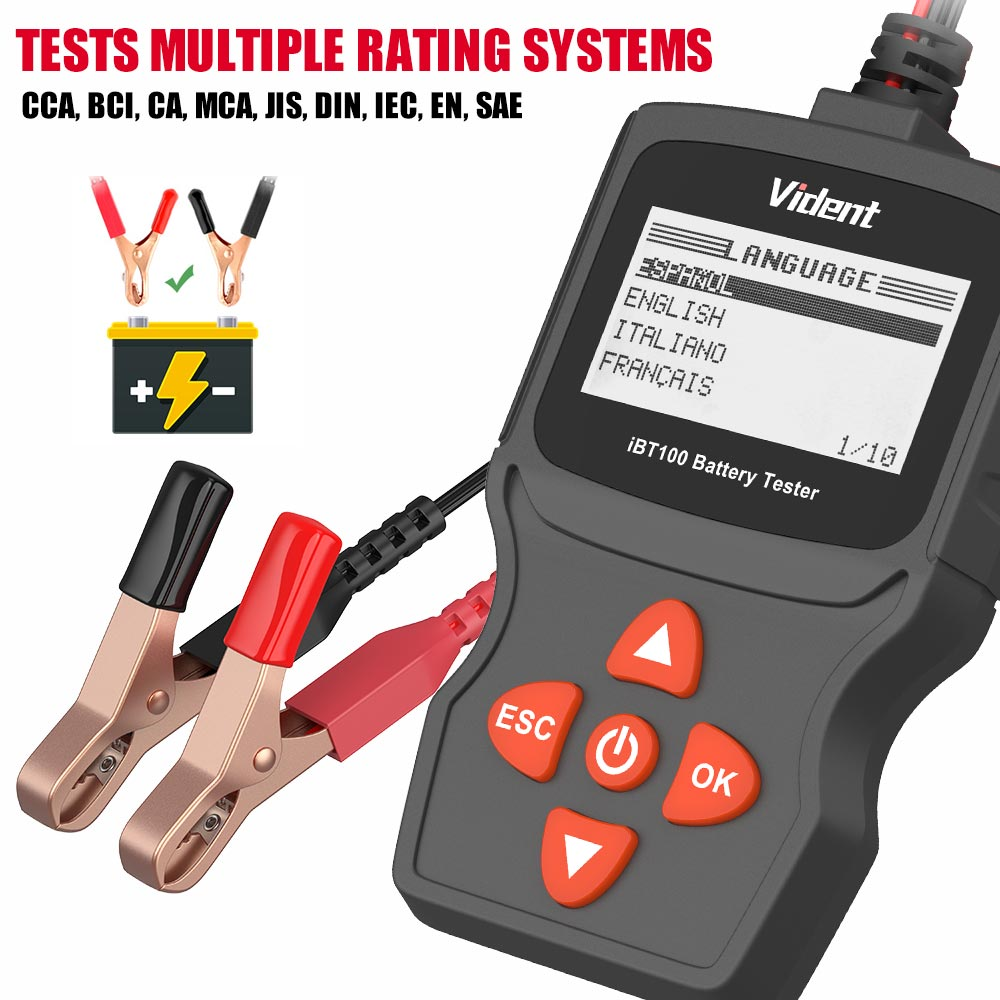 Gel 100-1100CCA Support Passenger Cars /& Light Duty Trucks AGM VIDENT iBT100 12V Battery Analyzer Automotive Tester Diagnostic Tool for Flooded