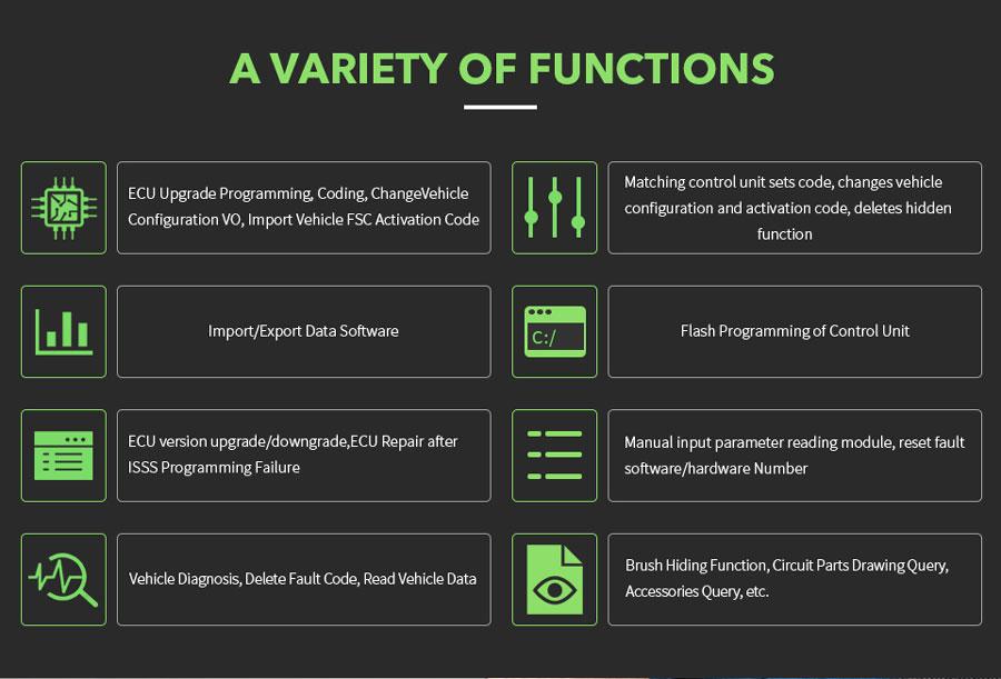 VXDIAG VCX SE For JLR Function List