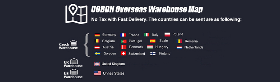 UOBDII Overseas Warehouse Map, Fast Delivery with Tax Free