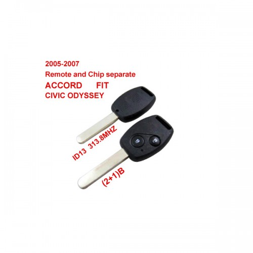2005-2007 Remote Key 2+1 Button and Chip Separate ID:13 (313.8MHZ) for Honda