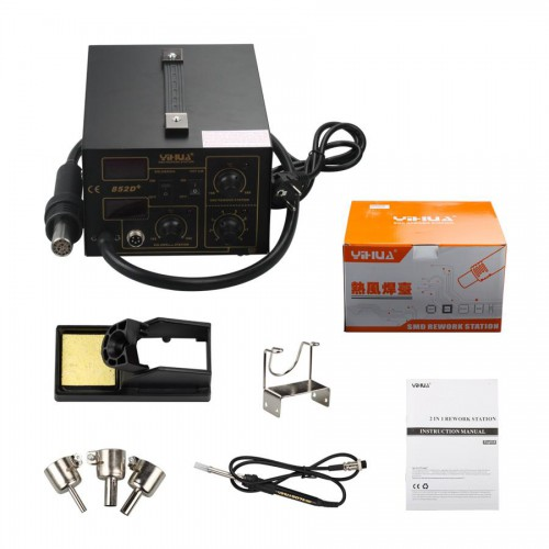 2 in 1 SMD Soldering Rework Station Hot Air & Iron 852D+ 5Tips ESD PLCC BGA