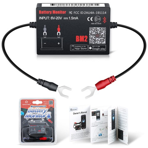 [US Ship] QUICKLYNKS Battery Monitor BM2​​ Bluetooth 4.0 Device Car 12V Battery Tester