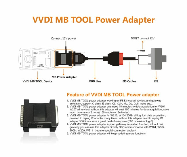 VVDI MB Tool Power adapter work with VVDI Mercedes for Data Acquisition