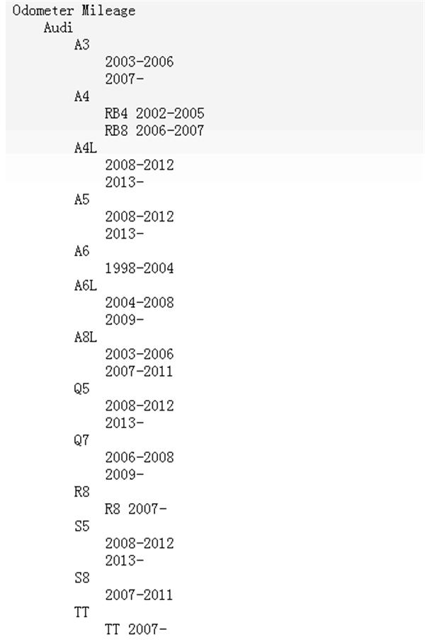 OBDSTAR X300MAudi Odometer AdjustmentVehicle List