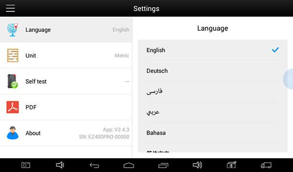 XTOOL EZ400 Pro language