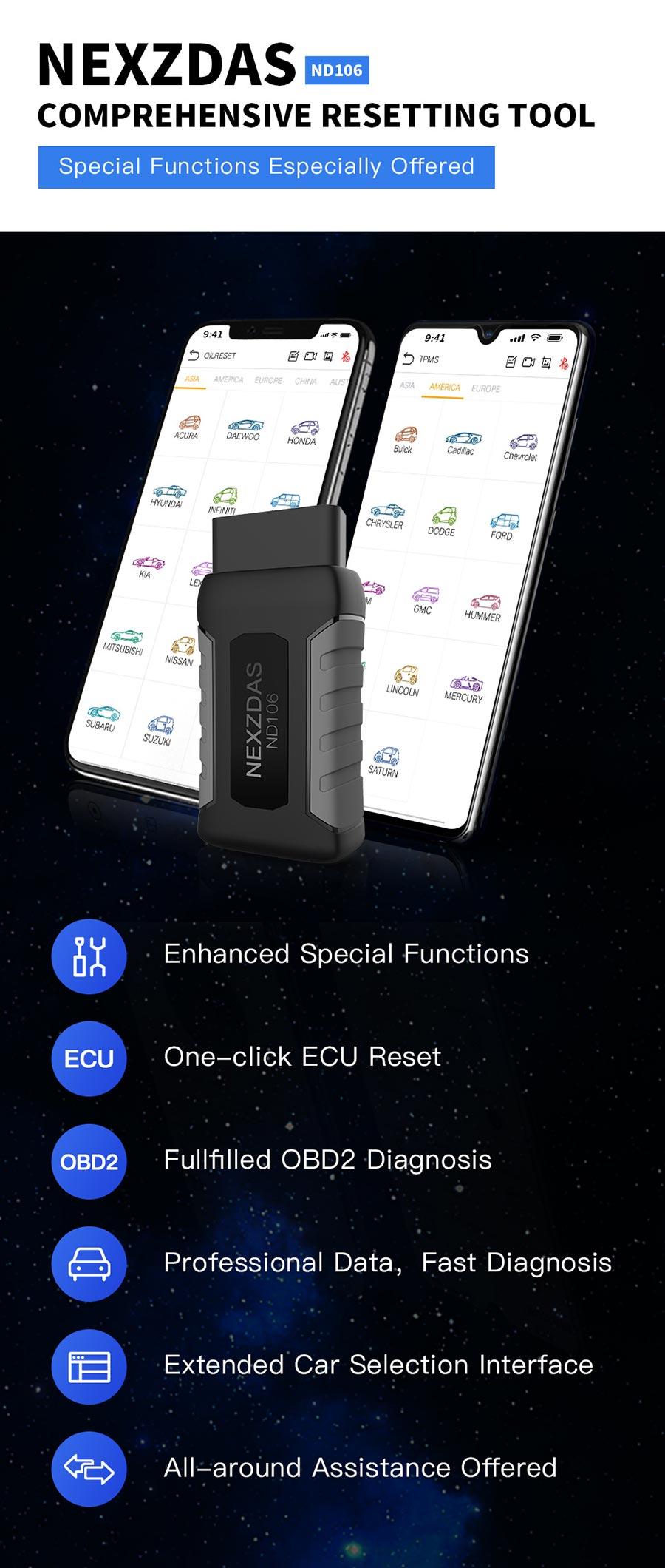 Humzor NexzDAS ND106 Bluetooth Special Function Resetting Tool