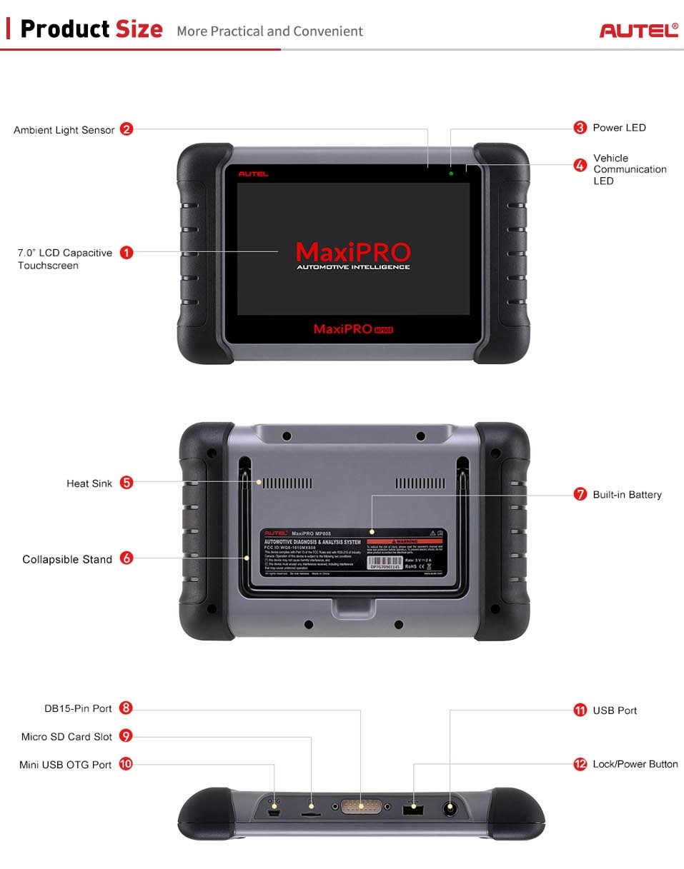 Autel MaxiPRO MP808K device size