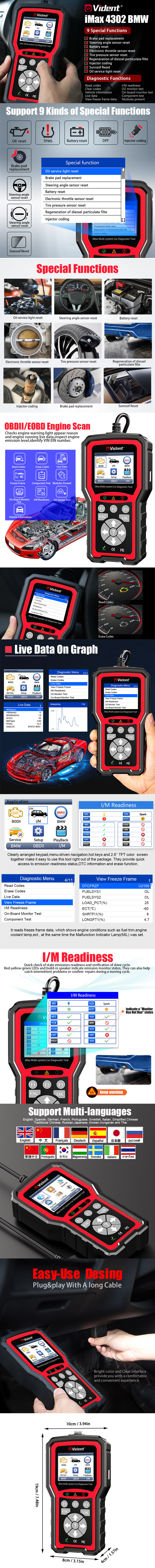 VIDENT iMax4302 BMW Full System Diagnostic Tool Free Update Online Lifetime