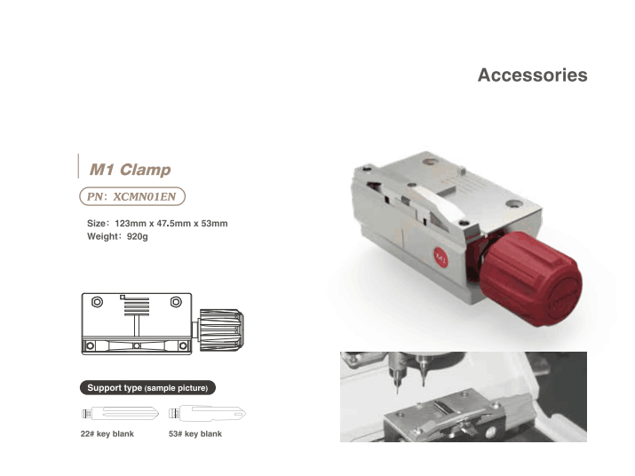 Xhorse M1 Clamp for Condor XC-Mini Plus and Dolphin XP005 Key Cutting Machine