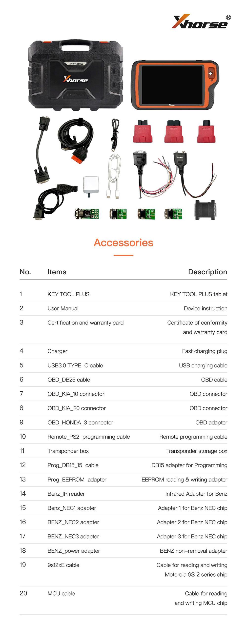 Xhorse VVDI Key Tool Plus Package List