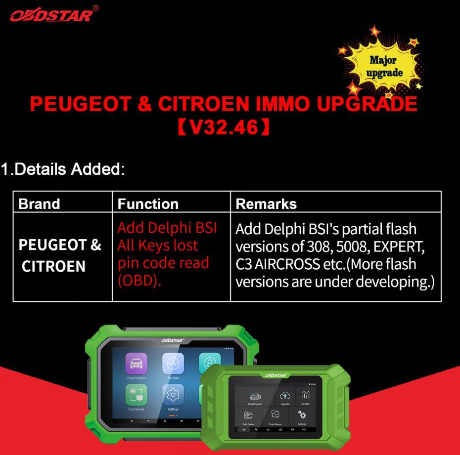 OBDSTAR Peugeot & Citroen IMMO V32.46 Update