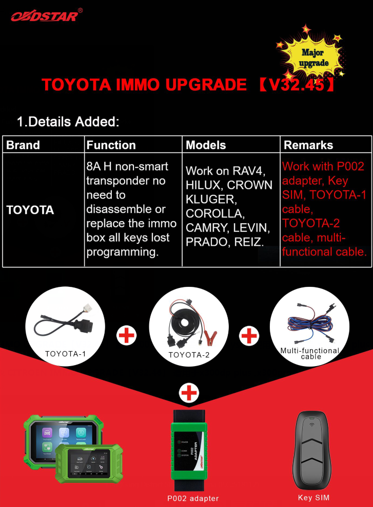OBDSTAR Toyota IMMO V32.45 Upgrade