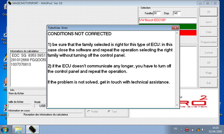 "KESS problem "" conditions not correct"""